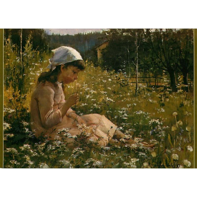 Tyttö niityllä / Kukkien keskellä